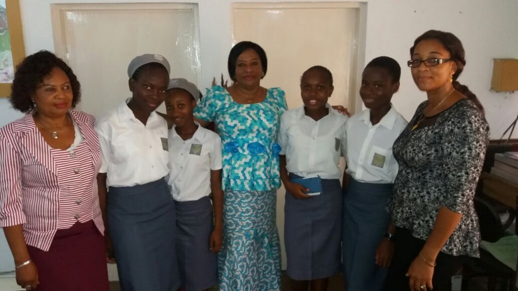 The Principal Federal Government college,Ijaniki, Mrs Ibukun Oyewole (middle), the Vice principal, Mrs Onokala (left)and the Coordinator STEM for girls FGC Lagos (right) with our 2015 STEM camp participants.